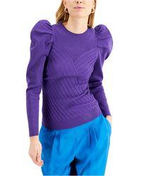 INC International Concepts Inc Puff-sleeve Rib-knit Sweater, Created For Macy's - Purple