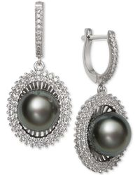 Macy's - Black Cultured Tahitian Pearl (10mm) & Cubic Zirconia Drop Earrings In Sterling Silver - Lyst