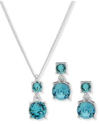 Nine West Boxed Necklace And Earring Set - Metallic