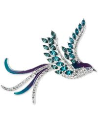 Anne Klein Gold-tone Crystal Bird Pin, Created For Macy's - Blue