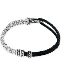 Effy Collection | Men's Black Leather Hinged Bracelet In Sterling Silver | Lyst