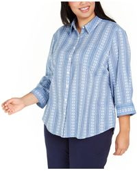 Karen Scott Plus Size Floral-embroidered Cotton Shirt, Created For Macy's - Blue