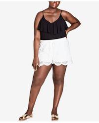 City Chic Trendy Plus Size Scalloped Eyelet Shorts - White