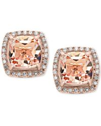 Effy Collection - Morganite (2-3/4 Ct. T.w.) And Diamond (1/5 Ct. T.w.) Stud Earrings In 14k Rose Gold - Lyst