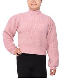 Derek Heart Trendy Plus Size Funnel-neck Cropped Sweater - Pink