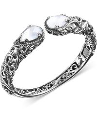 Carolyn Pollack Mother-of-pearl Hinged Cuff Bracelet In Sterling Silver - Metallic