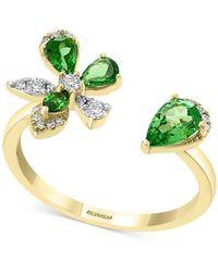 Effy Collection - Tsavorite (3/4 Ct. T.w.) & Diamond (1/6 Ct. T.w.) Flower Cuff Ring In 14k Gold - Lyst