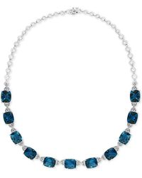"""Effy Collection Effy® London Blue Topaz (77-1/2 Ct. T.w.) & Diamond (1-1/5 Ct. T.w.) 16"""" Collar Necklace In 14k White Gold"""