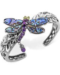 Carolyn Pollack Multi-gemstone Dragonfly Bangle Bracelet (9-3/4 Ct. T.w.) In Sterling Silver - Blue