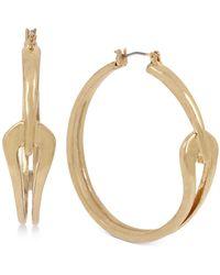 """Robert Lee Morris Gold-tone Medium Sculptural Curve Hoop Earrings, 1.8"""" - Metallic"""