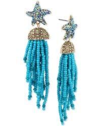 Betsey Johnson - Blue Starfish And Tassel Drop Statement Earrings - Lyst