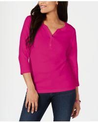 Karen Scott Petite Cotton Henley Shirt, Created For Macy's - Multicolour