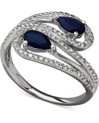 Macy's - Sapphire (1 Ct. T.w.) And Diamond (1/3 Ct. T.w.) Bypass Ring In 14k White Gold - Lyst