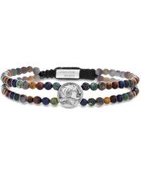 Steve Madden Multi Colour Gem Coin Station Double Strand Bracelet - Multicolour