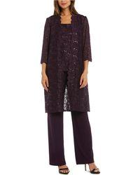 R & M Richards Petite 3-pc. Sequined-lace Jacket, Top & Pants - Purple