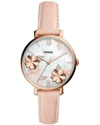 Fossil - Jacqueline Playful Floral Pink Leather Strap Watch 36mm - Lyst