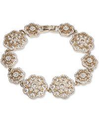 Marchesa Gold-tone Crystal & Imitation Pearl Filigree Flex Bracelet - Metallic