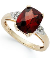 Macy's - 14k Gold Garnet (3-1/2 Ct. T.w.) And Diamond (1/10 Ct. T.w.) Ring - Lyst