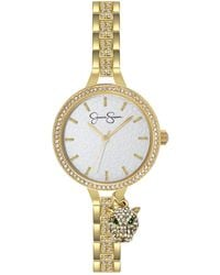 Jessica Simpson Pave Crystal Panther Charm Gold Tone Bracelet Watch 36mm - Metallic