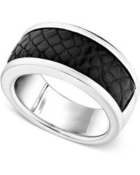 Macy's   Men's Sterling Silver Ring, Black Alligator Inlay Band   Lyst
