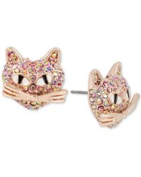 Betsey Johnson - Rose Gold-tone Pink Pavé Cat Stud Earrings - Lyst