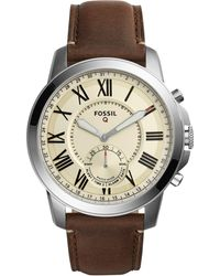Fossil - Men's Grant Saddle Brown Leather Strap Hybrid Smart Watch 44mm Ftw1118 - Lyst