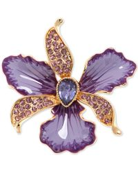 Anne Klein Gold-tone Colored Crystal Orchid Pin - Purple