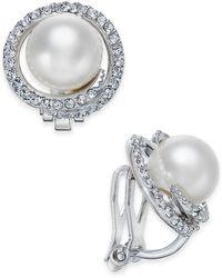 Danori - Silver-tone Imitation Pearl Pavé Clip-on Stud Earrings - Lyst