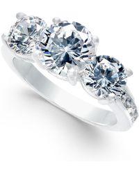 Charter Club - Silver-tone Cubic Zirconia Triple-stone Ring - Lyst