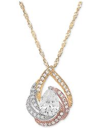 """Macy's - Cubic Zirconia Tri-color Swirl 18"""" Pendant Necklace In 14k Tricolor Gold-plated Sterling Silver - Lyst"""