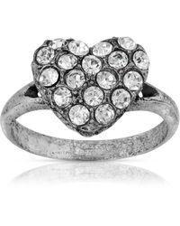 2028 Pewter Crystal Pave Heart Ring - Metallic