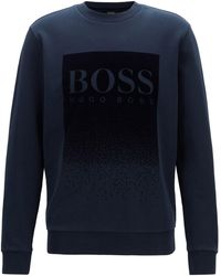 dd92077c644c Lyst - BOSS French-terry Sweatshirt With Embroidered Logo in Blue ...
