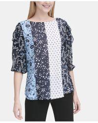 Calvin Klein - Mixed-print Ruffled-sleeve Top - Lyst