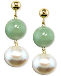 Macy's - 14k Gold Earrings, Cultured Freshwater Pearl And Jade - Lyst