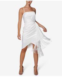 Laundry by Shelli Segal Faux-wrap Fringe Bodycon Dress - White