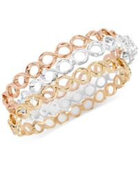 Touch Of Silver - Tri-tone 3-pc. Set Bangle Bracelets - Lyst