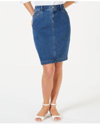 Charter Club Denim Tummy-control Skirt, Created For Macy's - Blue