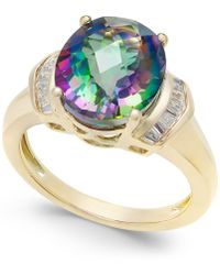 Macy's Mystic Topaz (4-9/10 Ct. T.w.) And White Topaz (1/4 Ct. T.w.) Ring In 14k Gold-plated Sterling Silver - Metallic