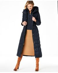 Cole Haan Hooded Down Maxi Puffer Coat - Blue