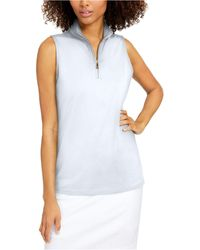 Charter Club Petite Silky Half-zip Top, Created For Macy's - White