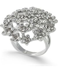 INC International Concepts - I.n.c. Silver-tone Crystal Cluster Flower Statement Ring, Created For Macy's - Lyst