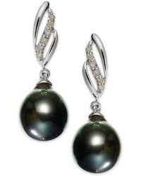 Macy's - 14k White Gold Tahitian Pearl (9mm) And Diamond (1/10 Ct. T.w.) Drop Earrings - Lyst