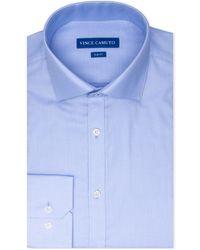 Vince Camuto Slim-fit Stretch Dobby Dress Shirt - Blue