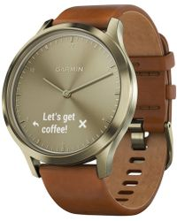 Garmin - Vívomovetm Hr Brown Leather Strap Hybrid Smart Watch 43mm - Lyst