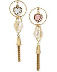 Betsey Johnson - S Pink Heart Orbital Non-matching Earrings - Lyst