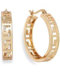 Charter Club - Gold-tone Greek Key Hoop Earrings - Lyst