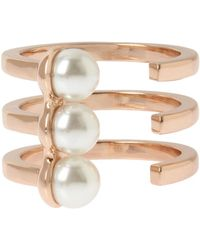 BCBGeneration - Pearl Rose Gold Triple Row Ring - Lyst