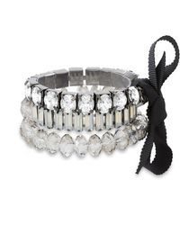 Catherine Malandrino White Round Rhinestone Black Ribbon Trio Silver-tone Trio Stretch Bracelet Set - Metallic