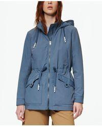 Marc New York Hooded Rain Parka Coat - Blue
