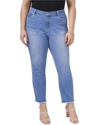Vince Camuto Plus Size 5 Pocket Released Hem Jean - Blue